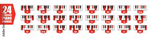 Photo piano  24 standard chords set, flat vector illustration