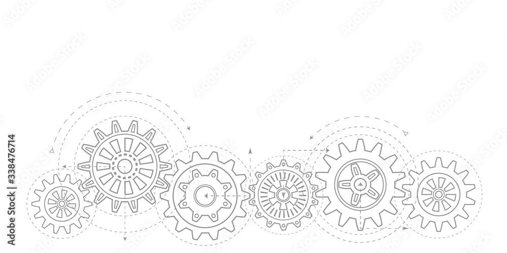 Obraz Technical drawing of gears .Rotating mechanism of round parts .Machine technology. Vector illustration. fototapeta, plakat