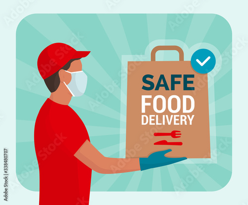 Cuadros en Lienzo Safe food delivery at home during coronavirus covid-19 epidemic