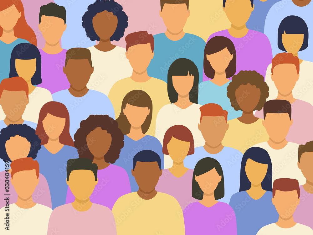 Fototapeta Diverse multicultural group of people standing together (europian, asian, american). Human social diversity crowd vector illustration.