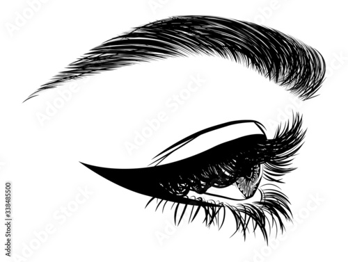 Fotomural Illustration with side view of woman's eye, eyelashes and eyebrow