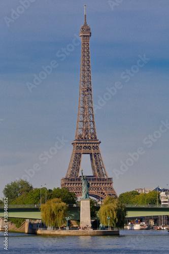 Fototapety, obrazy: Statue of Liberty Replica under Eiffel Tower, Paris France