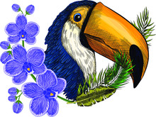 Head Bird Parrot Toucan Black Yellow And Flowers An Orchid With Leaves A Wreath Print Vector Illustration