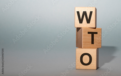 Photo wto - cube with letters, sign with wooden cubes