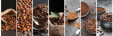 Collage Of Photos With Roasted Coffee Beans