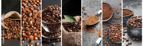 Photo Collage of photos with roasted coffee beans