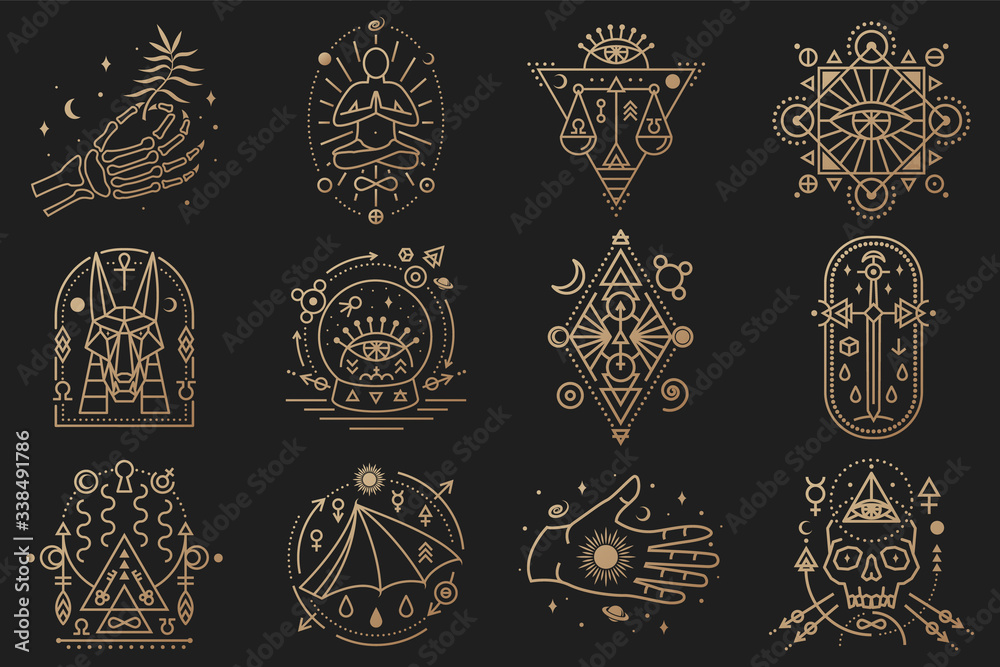 Fototapeta Esoteric symbols. Vector. Thin line geometric badge. Outline icon for alchemy, tarot cards, sacred geometry Mystic, magic design with stars, skull, gate to another world, moon, human skeleton hand