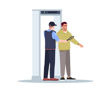 Body Scan Semi Flat RGB Color Vector Illustration. Security Officer Check Passenger. Guard With Metal Detector. Border Control. Airport Terminal Isolated Cartoon Character On White Background