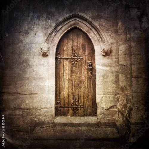 Closed Door Of Historic Church - fototapety na wymiar