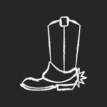 Western Movie Chalk White Icon On Black Background. Traditional American Cinema Genre, Cowboy Films. Cinematography, Filmmaking Category. Boot With Spur Isolated Vector Chalkboard Illustration