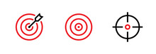 Set Of Goal, Target And Aim Icons. Editable Line Vector.