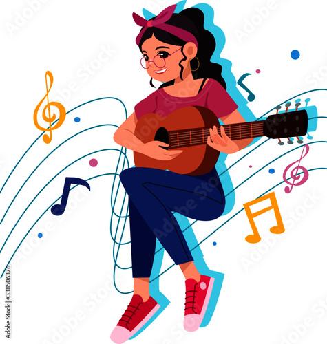 Glasses girl, headband, playing guitar strum on a musical note line Slika na platnu