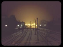 Railroad Tracks At Night