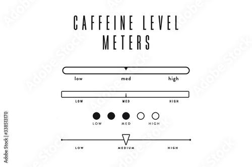 Vászonkép Coffee & Tea Caffeine Level Meters Set – Low Caffeine, Medium Caffeine, High Caf