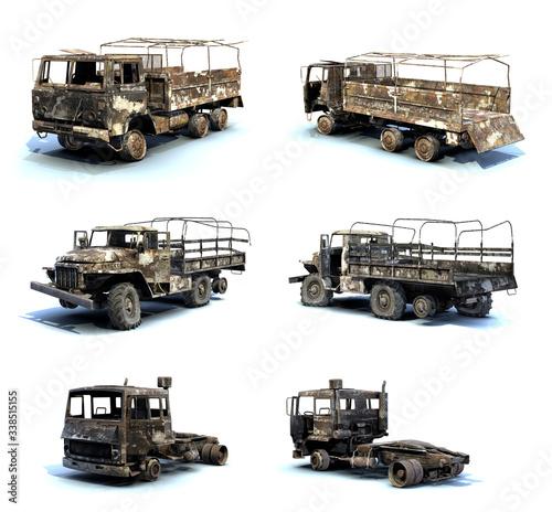 Set of 3D-renders of burnt trucks on white background Wall mural
