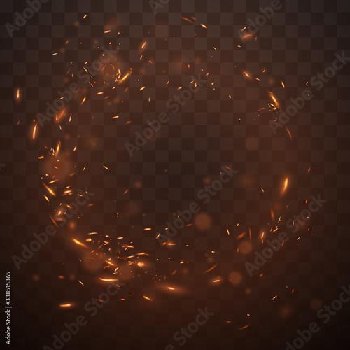 Obraz na plátně Circle fire sparks on transparent background