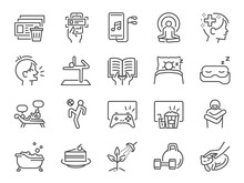 Self-care During Self Quarantine Line Icon Set. Included Icons As Take Care Of Your Mind, Enjoy, Emotion,mental Health, Relax And More.