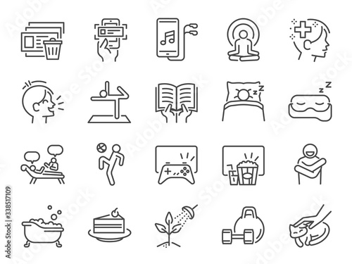 Obraz Self-care during self quarantine line icon set. Included icons as take care of your mind, enjoy, emotion, mental health, relax and more. - fototapety do salonu