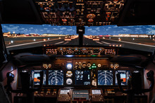 Dramatic Full View Of Cockpit Modern Boeing Aircraft Before Take-off. Airplane Is Ready To Fly. Night Shot In Cabin. Safety Flight