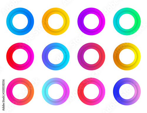 Collection circles bullet point button triangle flags isolated on white background Canvas Print