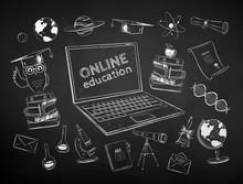 Chalk Drawn Set Of Online Educ...
