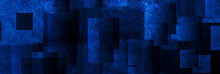 Dark Blue Grunge Squares Abstr...