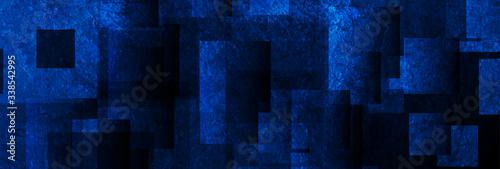 Dark blue grunge squares abstract banner design Fototapeta