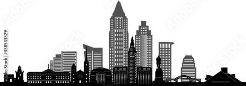 CLEVELAND OHIO City Skyline Silhouette Cityscape Vector Fototapeta