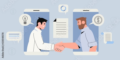 Two businessman settle contract with signing up contract and handshake Canvas Print