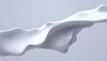 Creamy White Liquid Wave. Vect...