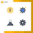 Set of 4 Commercial Flat Icons pack for coin, volcano, configuration, settings, safety
