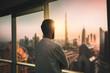 Leinwanddruck Bild - Arabic business man looking out through the office balcony seen through glass window. arab young man looking at Dubai city through hotel window.