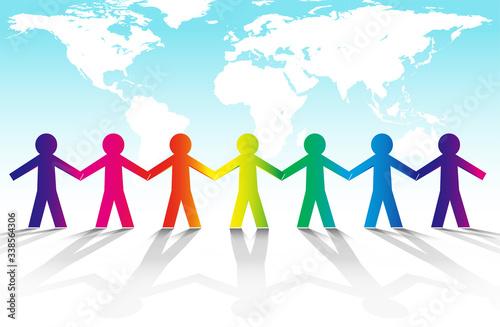 Obraz na plátně ベクター・手を取り合う人々と地球のグローバルイメージ