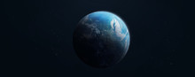 Earth Planet Wide Wallpaper On Dark Background. Elements Of This Image Furnished By NASA