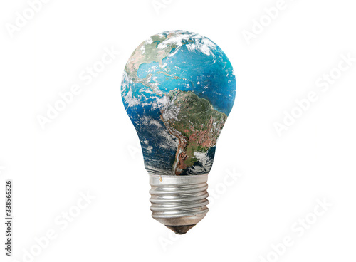 Light bulb with Earth globe isolated on white background Poster Mural XXL