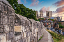 The City Of York, Its Medieval Wall And The York Minster At Sunset