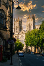 The Cathedral Of York And A View Of The City At Sunset
