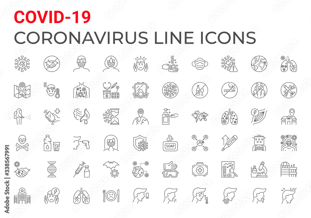 Fototapeta Coronavirus COVID-19 pandemic respiratory pneumonia disease related icons set line style. Included icons symptoms, transmission, prevention, treatment, virus, outbreak, contagious, infection 2019-nCoV