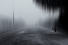 View Of Man And Wheelbarrow In Street On A Foggy Day
