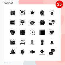 Stock Vector Icon Pack Of 25 Line Signs And Symbols For Location, Navigation, Up, Direction, Charg