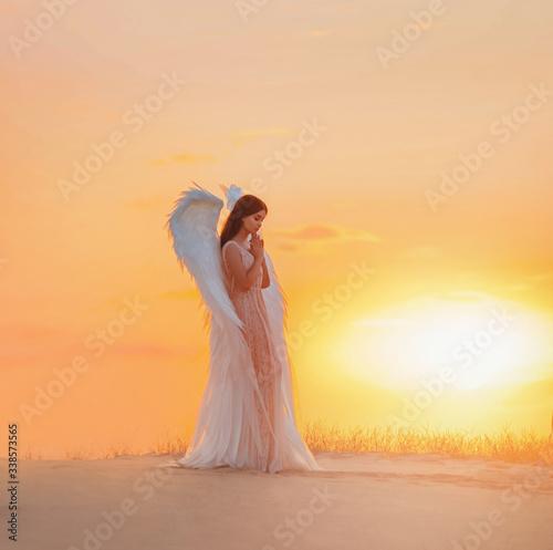 Slika na platnu Silhouette young woman angel stands in desert praying