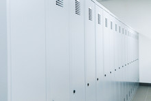 White Lockers In A Changing Room