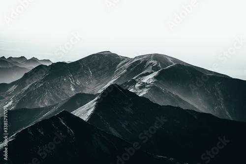 Fototapeta Mountains, desaturated landscape. Tatry, Polska. obraz