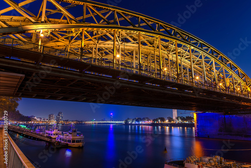 Night view from Cologne with a bridge. Night Cologne view to the Rhein. © Wn_Photography