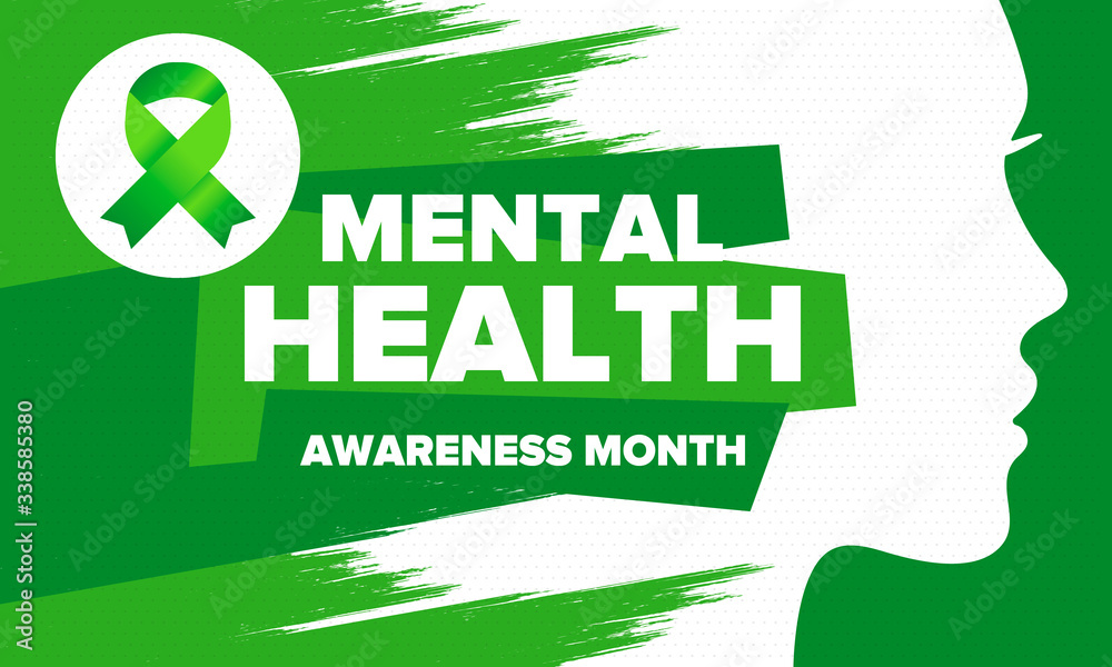 Fototapeta Mental Health Awareness Month in May. Annual campaign in United States. Raising awareness of mental health. Control and protection. Prevention campaign. Medical health care design. Vector illustration