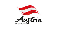 Made In Austria Handwritten Flag Ribbon Typography Lettering Logo Label Banner