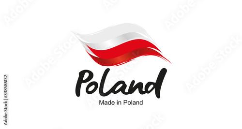 Made in Poland handwritten flag ribbon typography lettering logo label banner