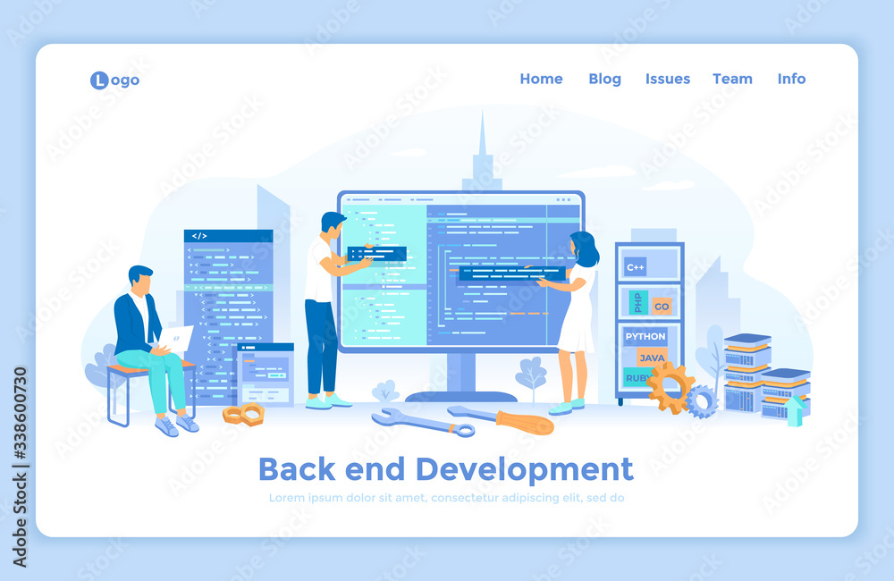 Fototapeta Back-end Development, Coding, Testing, Software  Engineering, Programming languages. Team of programmers write program code on a big monitor screen. landing web page template decorated with people.