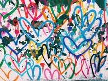 Graffiti Designs Of Multicolored Hearts