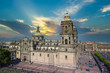 Mexico city, Central Zocalo Plaza and landmark Metropolitan Cathedral of the Assumption of Blessed Virgin Mary